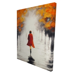 Canvas 36 x 48 - 3D - Woman with a red coat by fall