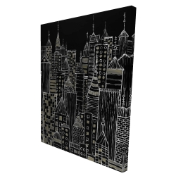 Canvas 36 x 48 - 3D - Illustrative city towers