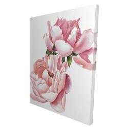 Canvas 36 x 48 - 3D - Two pink watercolor roses