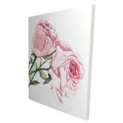Canvas 36 x 48 - 3D - Watercolor pink roses