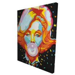 Canvas 36 x 48 - 3D - Colorful maryline monroe bubblegum