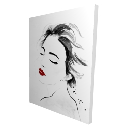 Canvas 36 x 48 - 3D - Right side watercolor serenely lady portrait