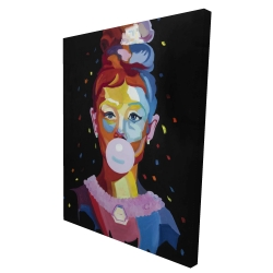 Canvas 36 x 48 - 3D - Colorful audrey hepburn portrait with bubblegum