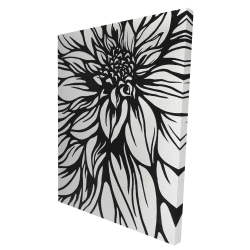 Canvas 36 x 48 - 3D - Dahlia flower outline style
