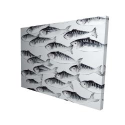Canvas 36 x 48 - 3D - Gray school of fish
