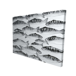 Canvas 36 x 48 - 3D - Gray shoal of fish