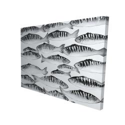 Canvas 36 x 48 - 3D - Gray shoal of fish