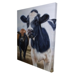 Canvas 36 x 48 - 3D - Two cows eating grass