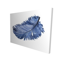 Canvas 36 x 48 - 3D - Watercolor blue feather