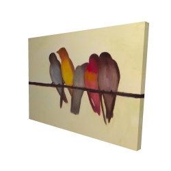 Canvas 36 x 48 - 3D - Five birds on a branch