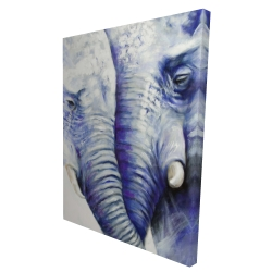 Canvas 36 x 48 - 3D - Elephant couple loving each other