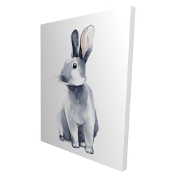 Canvas 36 x 48 - 3D - Gray curious rabbit
