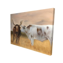 Canvas 36 x 48 - 3D - Two cows kissing by sunset