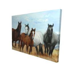 Canvas 36 x 48 - 3D - Horses in the meadow by the sun