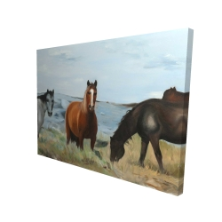 Canvas 36 x 48 - 3D - Horses eating in the meadow