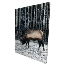Canvas 36 x 48 - 3D - Caribou in the winter forest