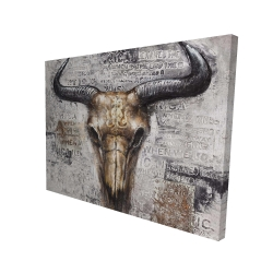 Canvas 36 x 48 - 3D - Bull skull with typography
