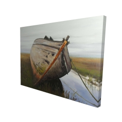 Canvas 36 x 48 - 3D - Old abandoned boat in a swamp