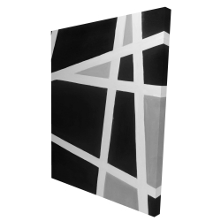 Canvas 36 x 48 - 3D - Black and white abstract lines