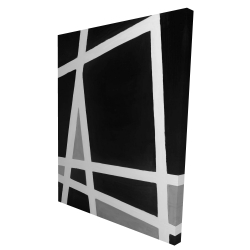 Canvas 36 x 48 - 3D - Black and white abstract shapes