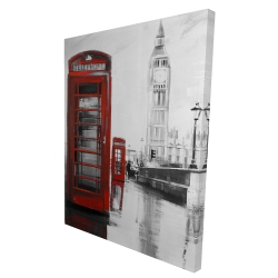 Canvas 36 x 48 - 3D - Red phonebooth with the big ben