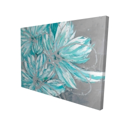 Canvas 36 x 48 - 3D - Three little abstract blue flowers