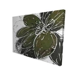 Canvas 36 x 48 - 3D - Green flower with splash outline