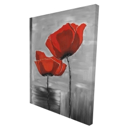 Canvas 36 x 48 - 3D - Two red flowers on a grayscale background