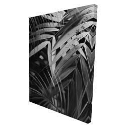 Canvas 36 x 48 - 3D - Monochrome tropicals leaves