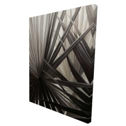 Canvas 36 x 48 - 3D - Grayscale tropical plants