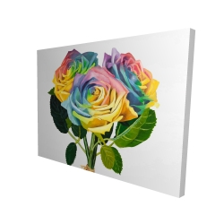 Canvas 36 x 48 - 3D - Bouquet of rainbow roses
