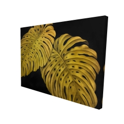 Canvas 36 x 48 - 3D - Gold monstera