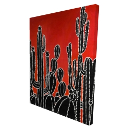 Canvas 36 x 48 - 3D - Black tall cactus