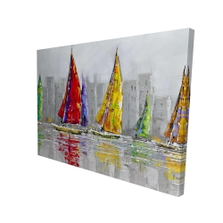 Canvas 36 x 48 - 3D - Sailboats in the wind