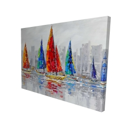 Canvas 36 x 48 - 3D - Colorful boats near a gray city