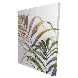 Canvas 36 x 48 - 3D - Watercolor tropical palm leaves