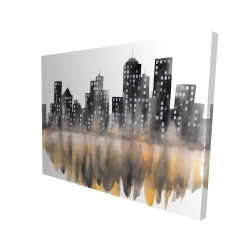 Canvas 36 x 48 - 3D - Yellow watercolor cityscape