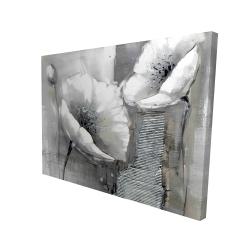 Canvas 36 x 48 - 3D - Industrial monochrome flowers