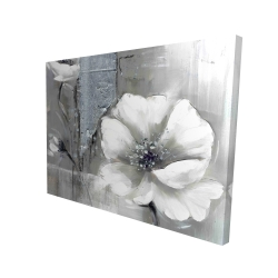 Canvas 36 x 48 - 3D - Monochrome and silver flowers