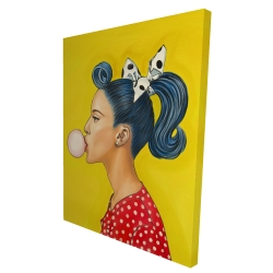 Canvas 36 x 48 - 3D - Retro woman with beautiful ponytail