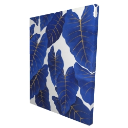 Canvas 36 x 48 - 3D - Tropical abstract blue leaves