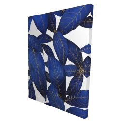 Canvas 36 x 48 - 3D - Abstract modern blue leaves