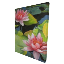 Canvas 36 x 48 - 3D - Water lilies and lotus flowers