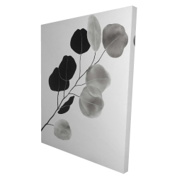 Canvas 36 x 48 - 3D - Grayscale branch with round shape leaves