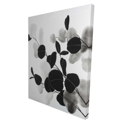Canvas 36 x 48 - 3D - Grayscale branches with leaves