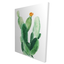 Canvas 36 x 48 - 3D - Watercolor paddle cactus with flower