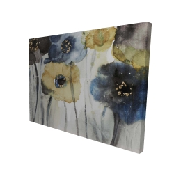 Canvas 36 x 48 - 3D - Gray blue and yellow flowers
