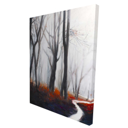 Canvas 36 x 48 - 3D - Mysterious forest with stream