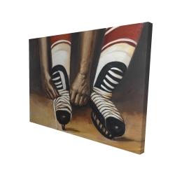Canvas 36 x 48 - 3D - Hockey player ties his skates