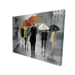 Canvas 36 x 48 - 3D - Street scene with umbrellas